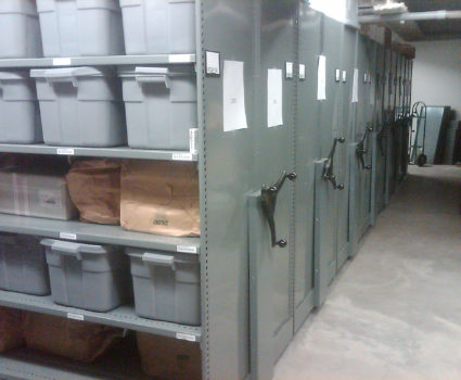 Police department evidence storage in bins on mobile shelving system 1