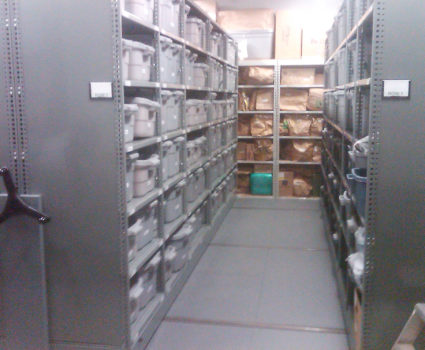 Police department evidence storage in bins on mobile shelving system 2