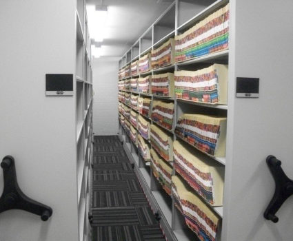 Malcolm X City College registrar's office filing storage system - rolling mobile shelving - AFTER 2