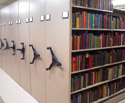 Newberry Library in Chicago, high-density custom mobile shelving system