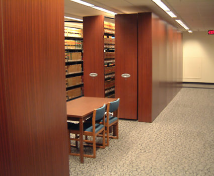 Courthouse library storage on powered mobile shelving system