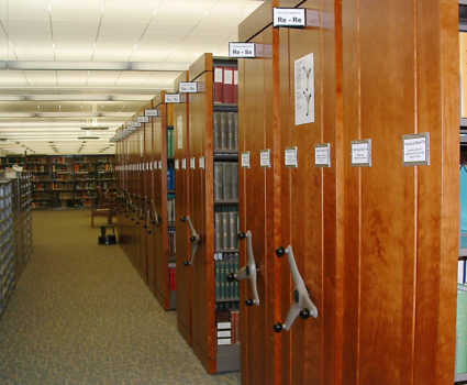High-density mobile shelving system for university library
