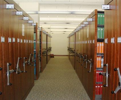 High-density mobile shelving system for university library