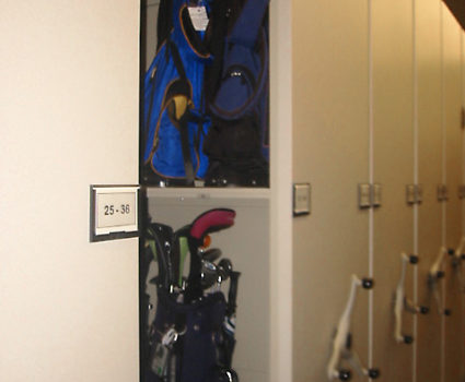 Golf bag storage on mobile storage system at country club - 1