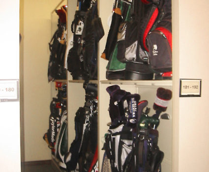 Golf bag storage on mobile storage system at country club -2