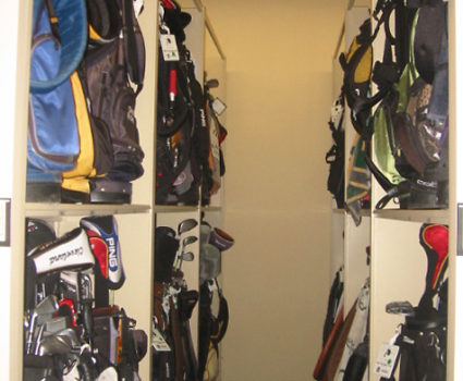 Golf bag storage on mobile storage system at country club -3