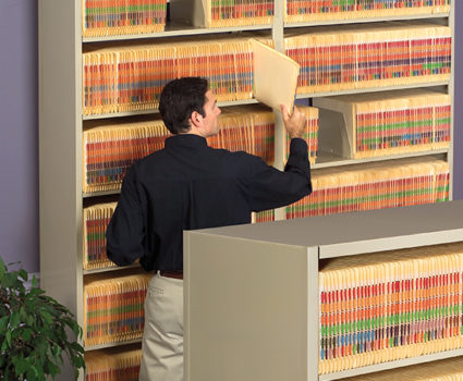 The TAB Four-post shelving system offers an incredibly durable, easily accessible system of high-density storage.