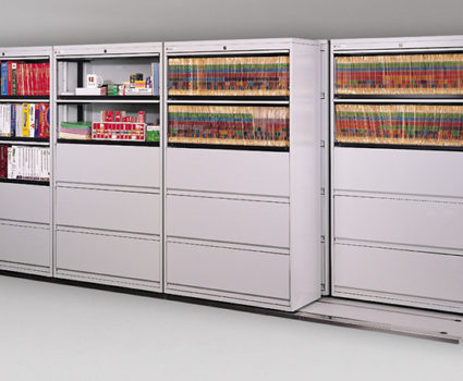 TAB SIDE-TRAC lateral mobile shelving system allows you to fit more storage cabinets into your existing space.