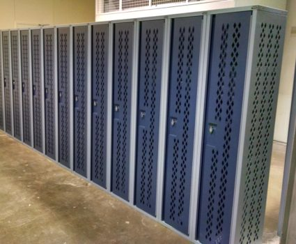 Military locker installation - blue lockers - half-size - 2