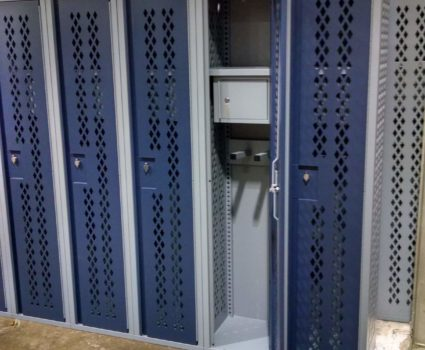 Military locker installation - blue lockers - half-size - 3