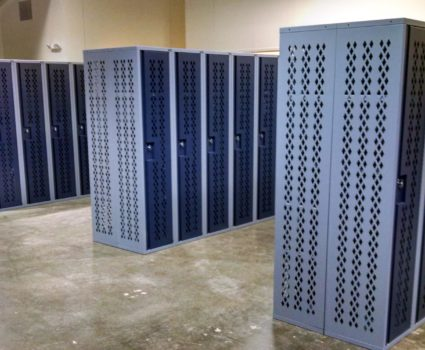 Military locker installation - blue lockers - half-size - 4
